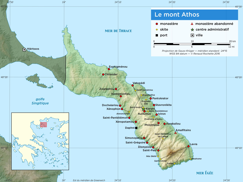 Carte du Mont Athos Grèce