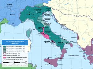 Carte de l'Italie lombarde 568-752