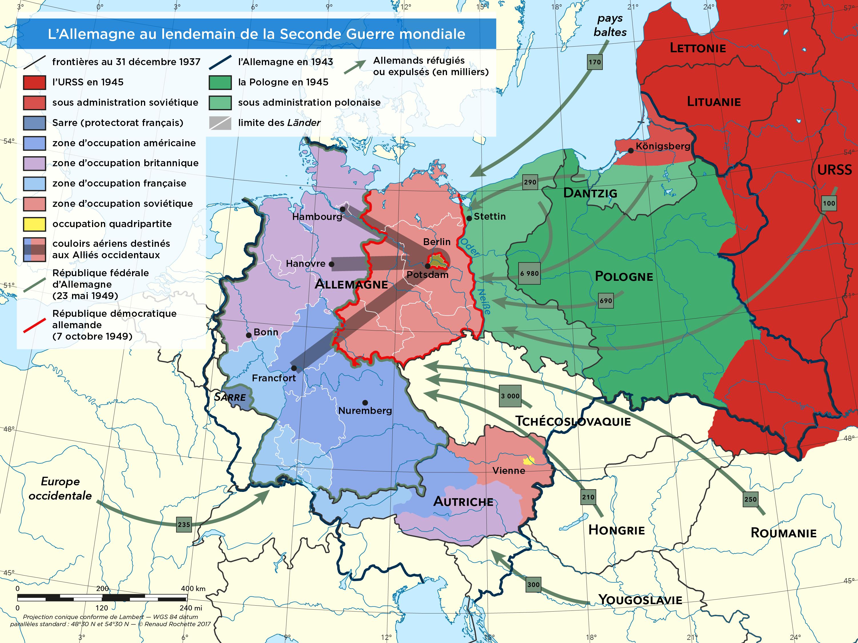 Carte Occupation Allemagne 1945.L Allemagne Au Lendemain De La Seconde Guerre Mondiale