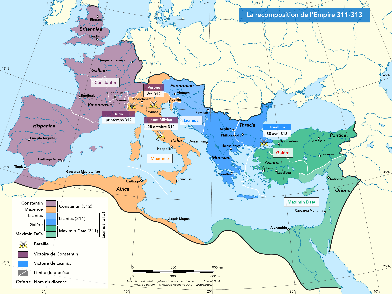 Les rééquilibrages entre empereurs 311-313